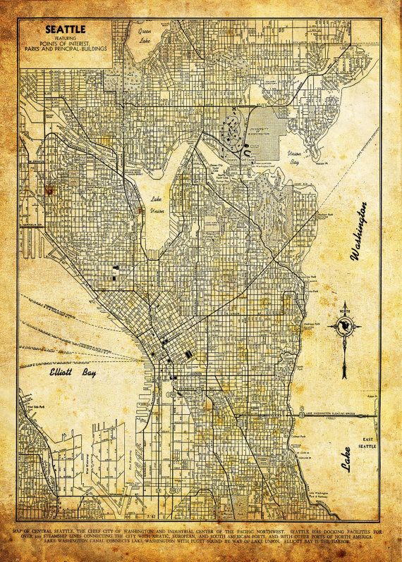 Seattle map city street map vintage sepia grunge print poster de seattle map city street map vintage sepia grunge print poster gumiabroncs Image collections