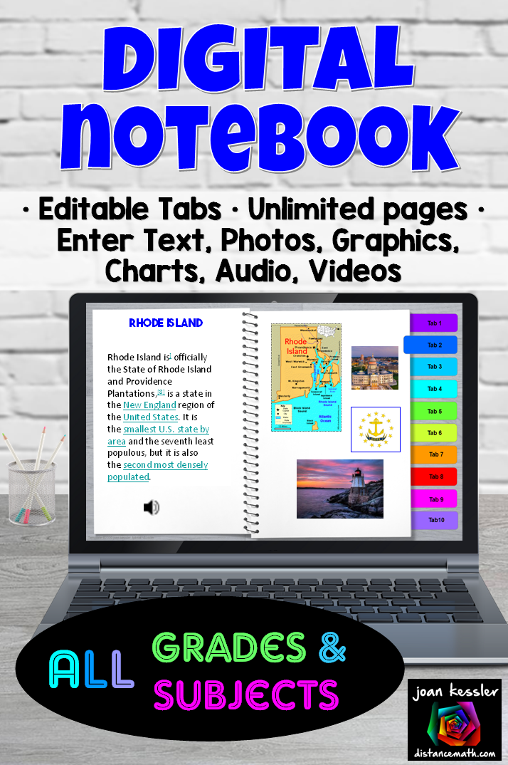 Editable Digital Notebook For All Grades And Subjects Distance Learning Digital Digital Notebooks