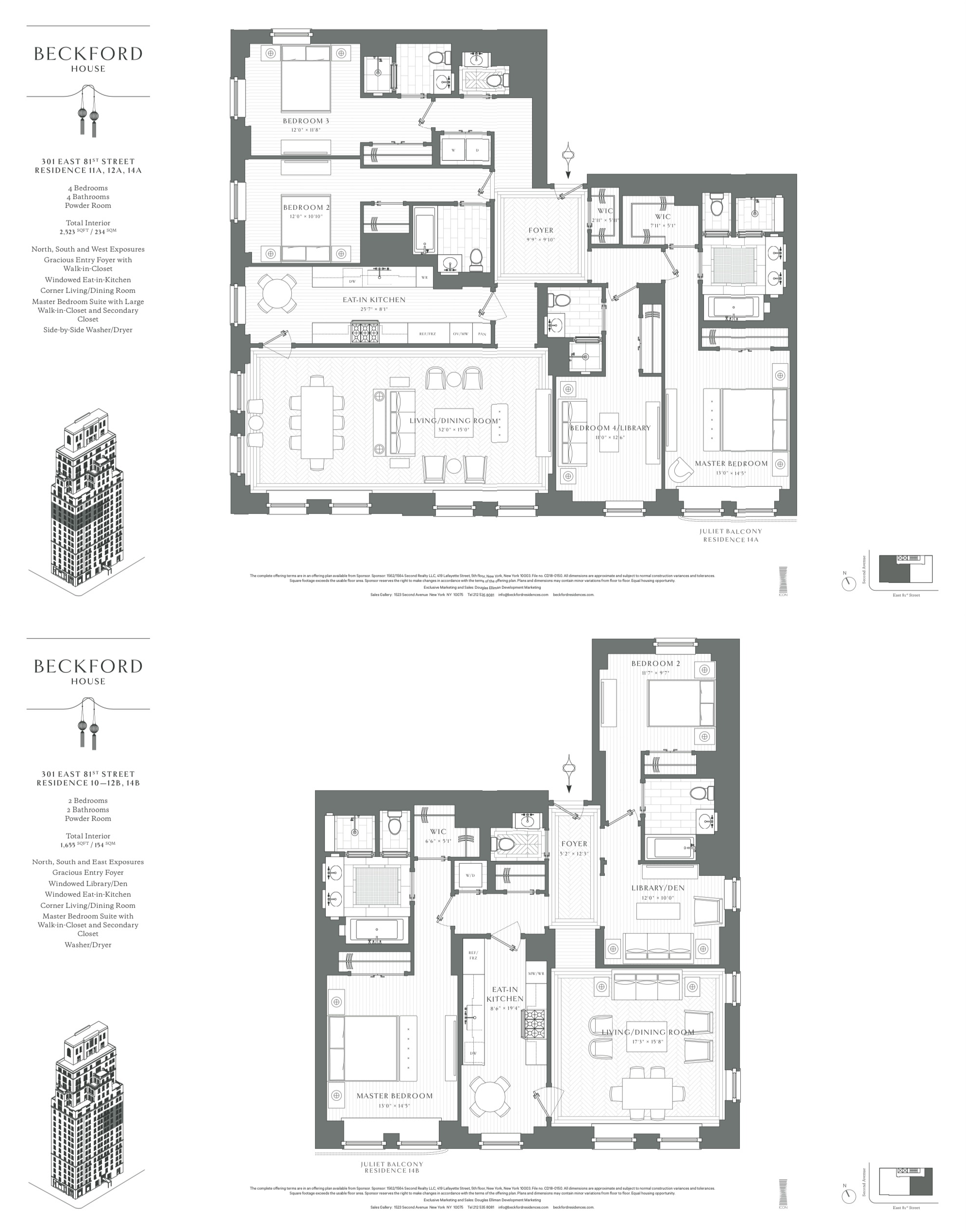 Beckford House Tower House Residence A B Penthouse Apartment Floor Plan Quality Interior Design City Living Apartment