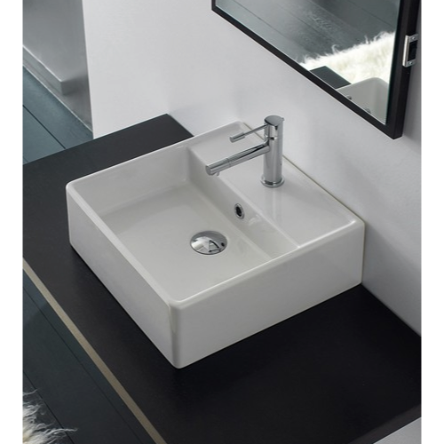 White Ceramic Sink Square Wall Mounted Scarabeo 8031 R 40