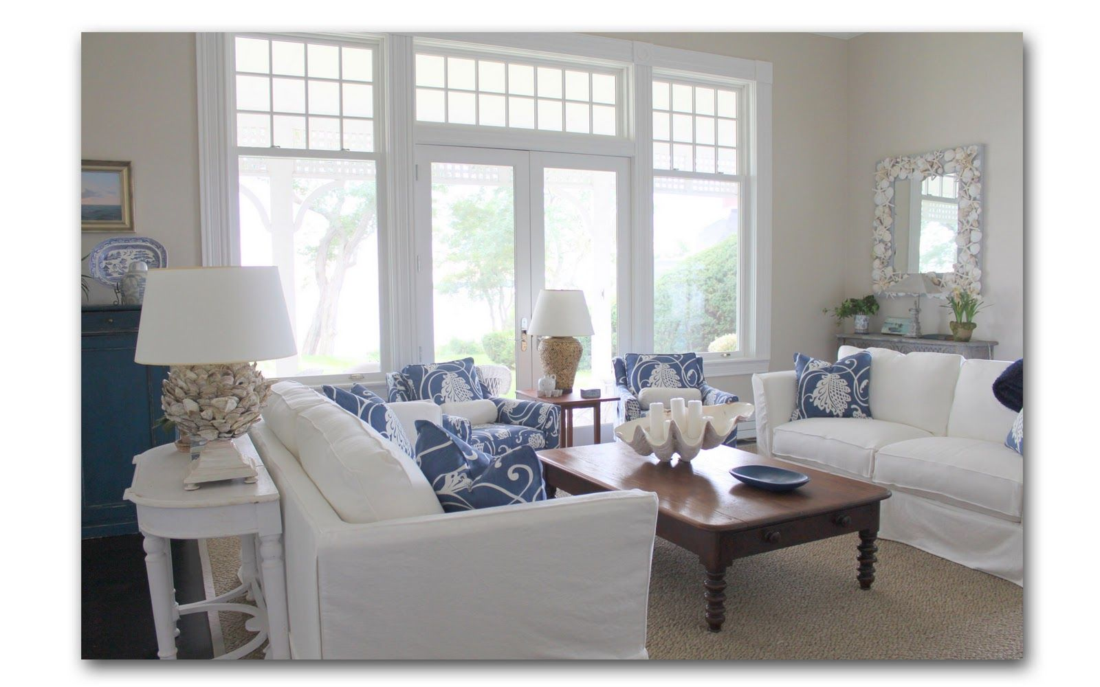 Cottage Family Room Ideas Part - 29: Beach Family Room Ideas | Nantucket Family Room This Blue White Nantucket Family  Room Makes