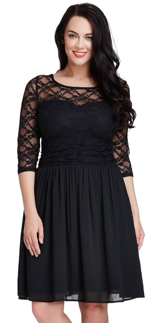 plus size a-line semi formal dress with lace top under 100 ...