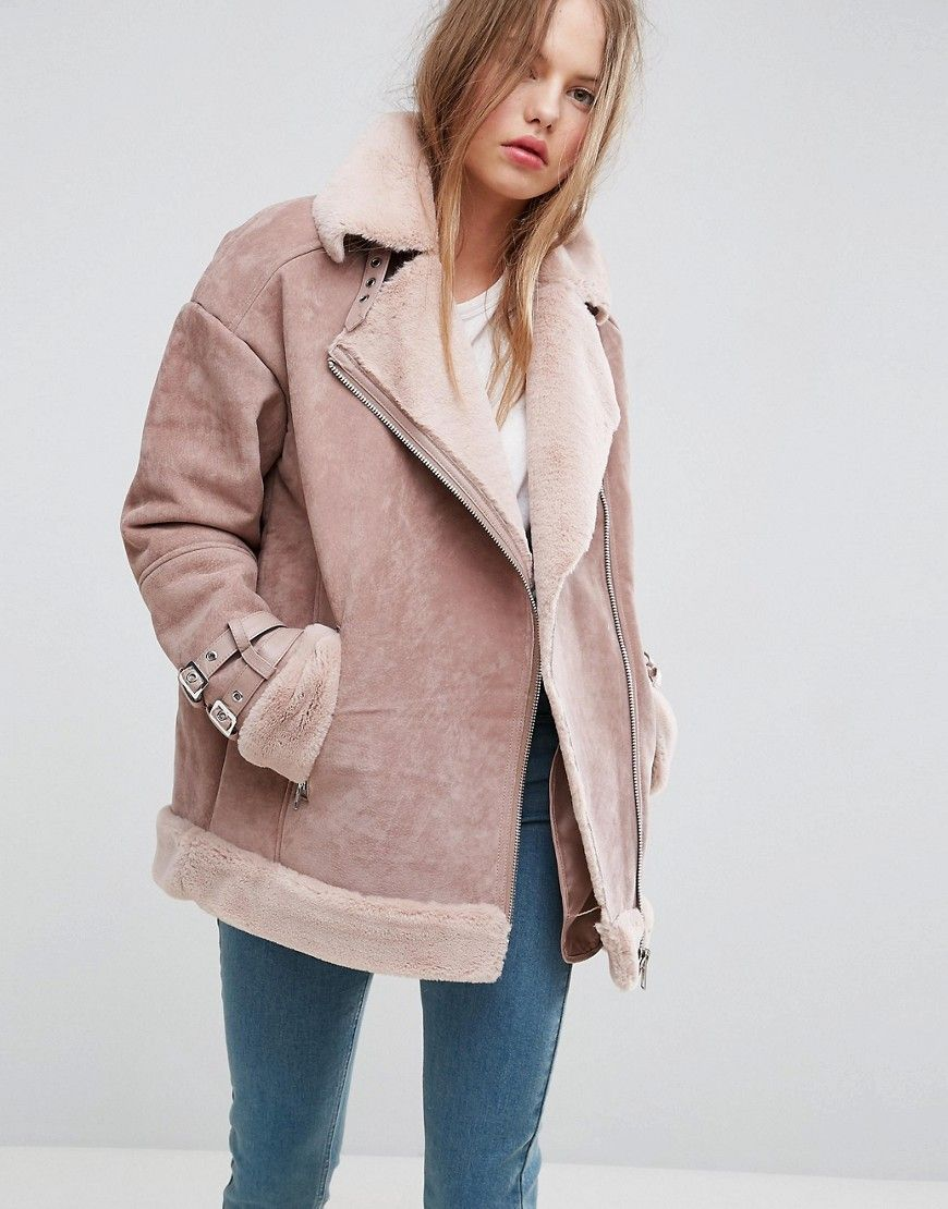 ASOS Suede Aviator with Faux Shearling - Pink  a99487d90caf