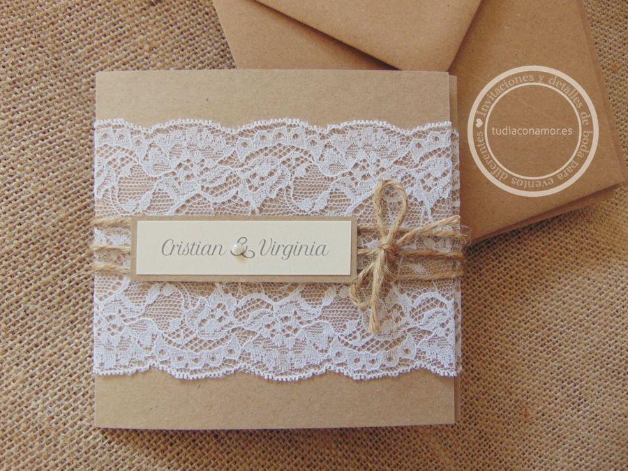 Invitaciones de boda hechas a mano con blonda en puntilla for Decoracion de casas hechas a mano
