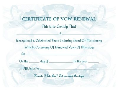 Vow Renewal Certificate Free Printable Prayers, Quotes - marriage certificate template