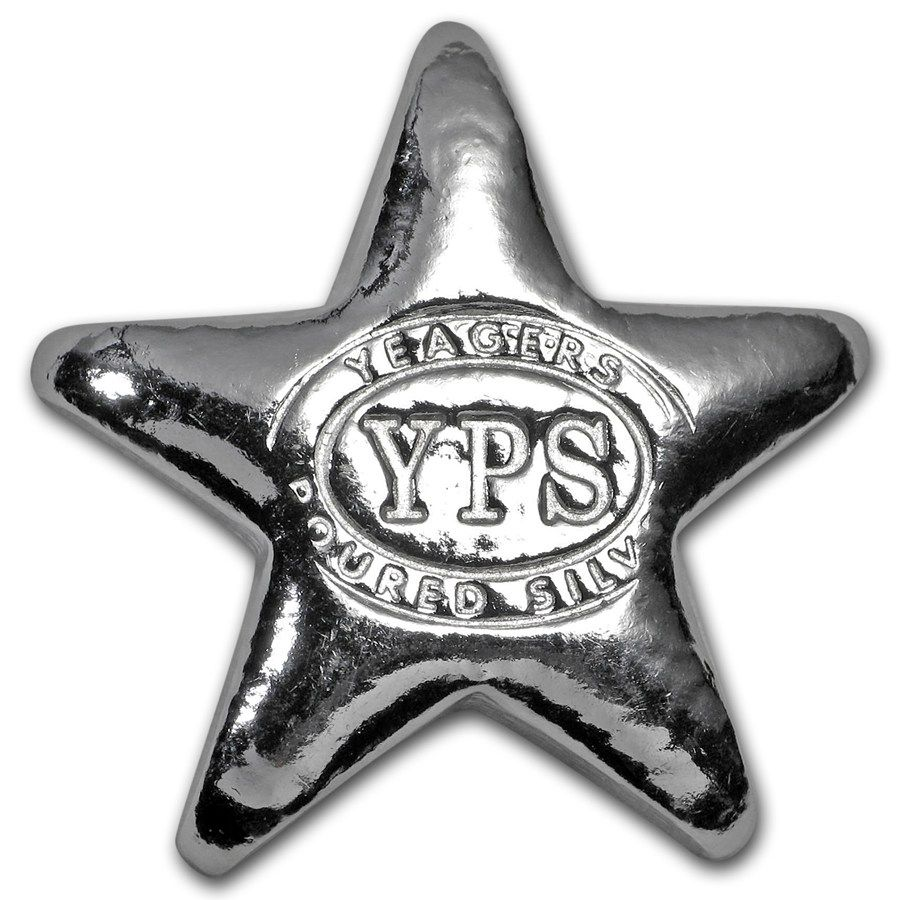 1 2 Oz Silver Star Yeager Poured Silver Silver Investing Silver Bling Silver Stars
