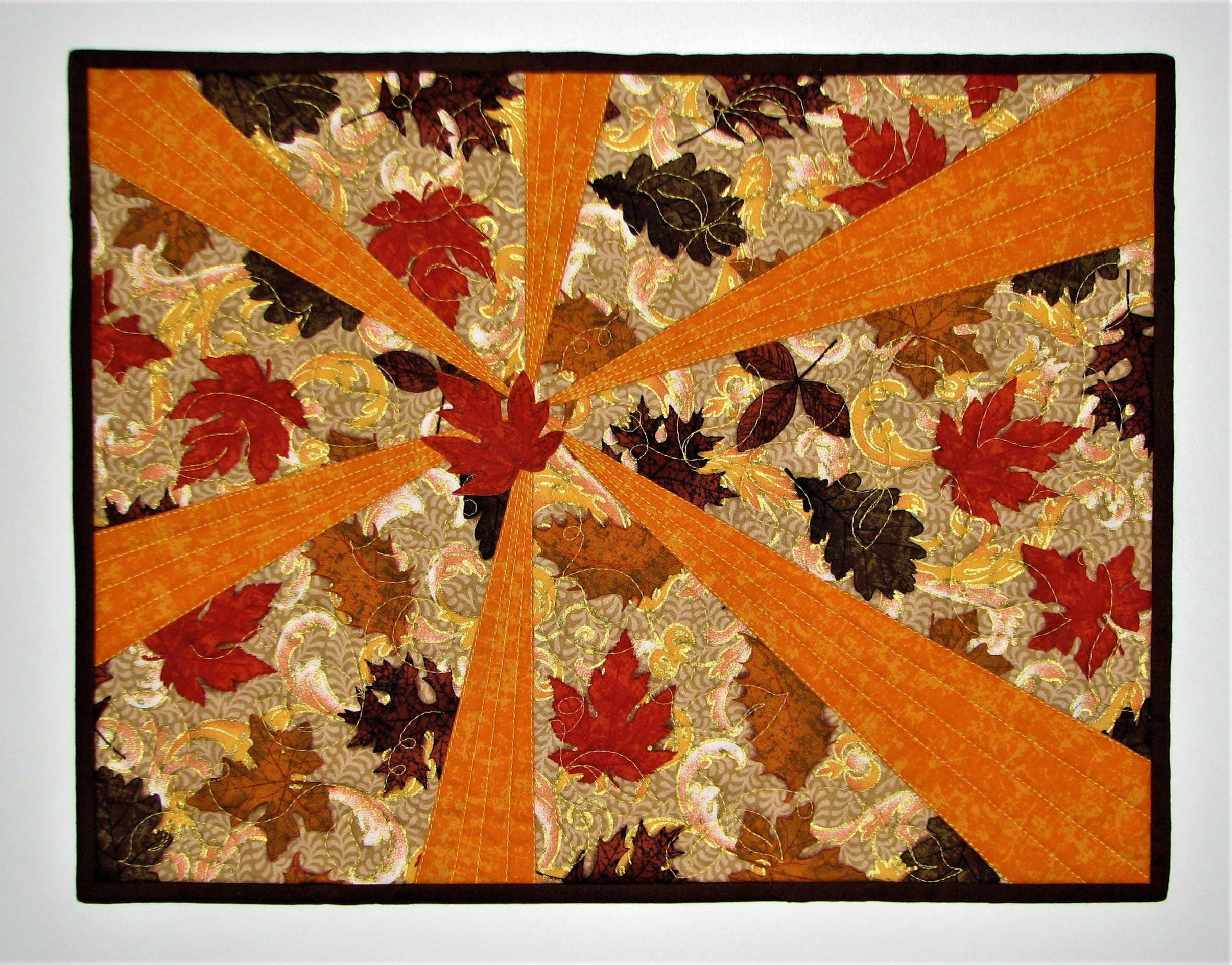 Autumn Quilted Wall Hanging Sunburst And Falling Leaves Art Quilt Handmade Mini Quilt 17 75 X13 75 Fall Quilts Quilted Wall Hangings Art Quilts