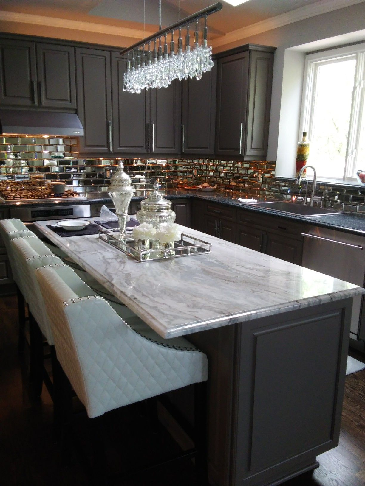 Best Fantasy Brown Granite On Gray Kitchen Cabinets Mirrored 400 x 300