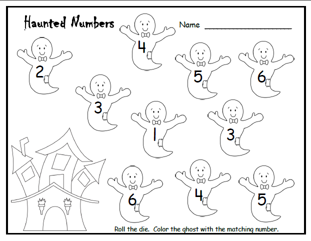 Halloween Counting Pre-K activity. Roll the dice and color