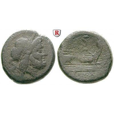 Römische Republik, Anonym, Semis nach 211 v.Chr., ss: Anonym nach 211 v.Chr. AE-Semis 28 mm nach 211 v.Chr. Rom. Kopf des Saturn r.… #coins