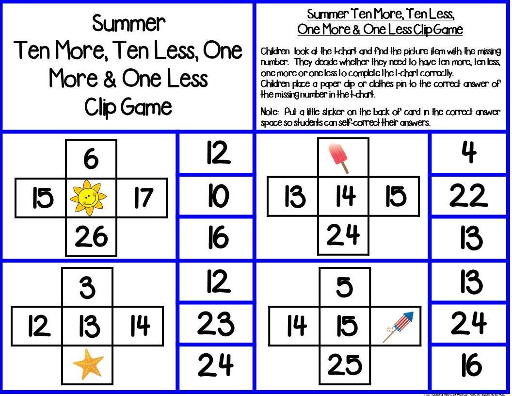 Seasonal Ten More Ten Less One More Or One Less Math