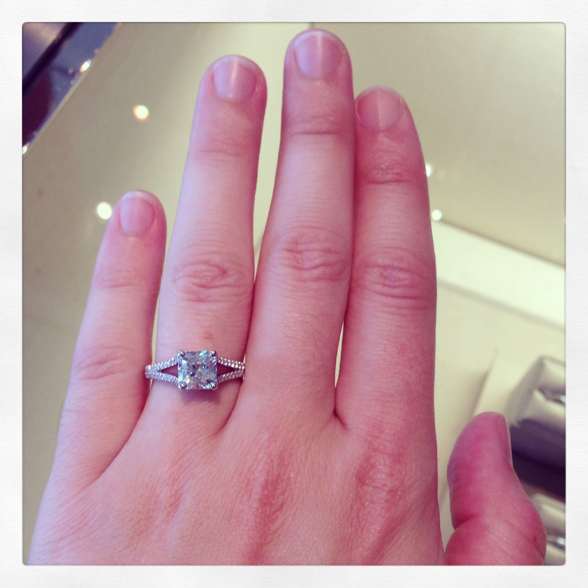 When at Tiffany\'s... Lucida with diamond band 1.58ct center square ...