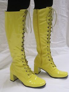 73292ab3882 Knee High Boots - Unisex Fashion Eyelet Boots - Size 6 UK - Yellow Patent