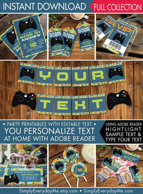 Video game party printable set gamer decor gamer birthday video video game party printables invitations decor gamer birthday video game full collection stopboris Image collections