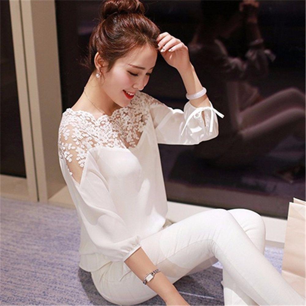 Fashion Women Summer Loose Casual Chiffon Long Sleeve Lace T Shirt