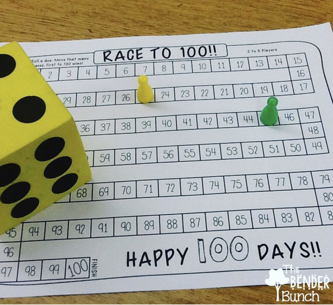 Race To 100 100 Days Of School 100th Day Math Center Games