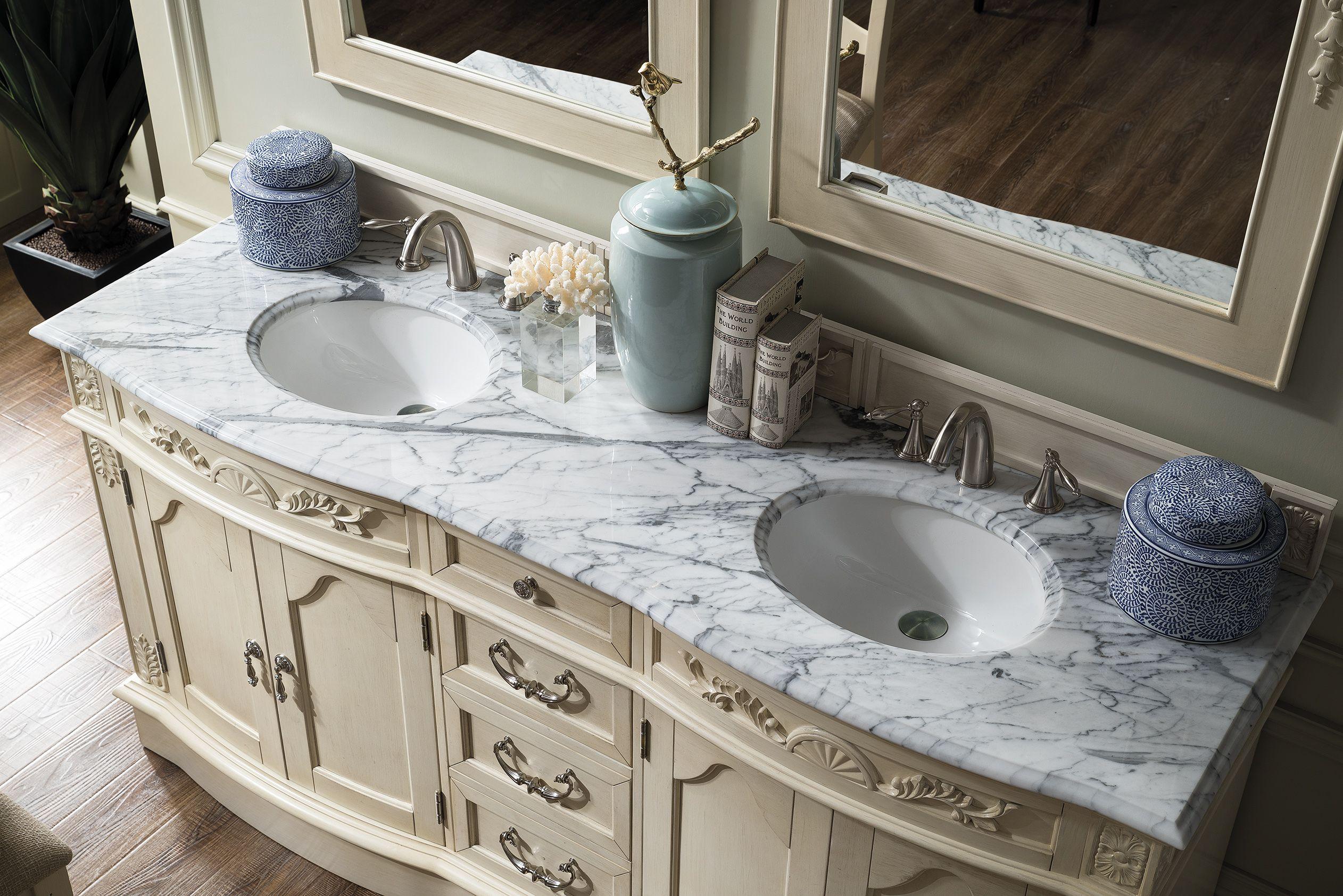 Amalfi 72 Double Sink Bathroom Vanity Cabinet Vintage Vanilla Finish Old World Style Ja Vintage Bathroom Vanities Luxury Bathroom Vanity Bathroom Vanity