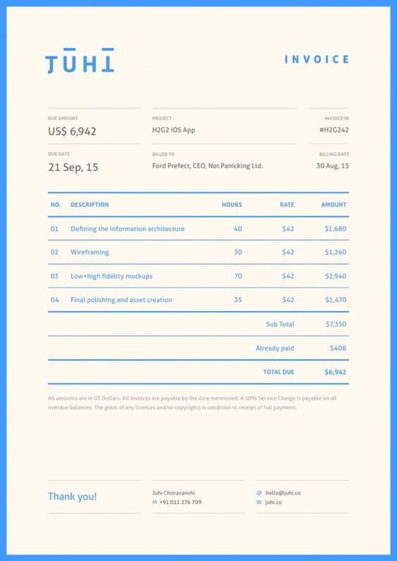 Invoice Design: 50 Examples To Inspire You: | Invoice Layout