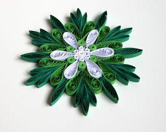 Flocon de neige vert sapin de noël blanc décoration hiver