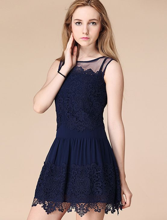 Navy Sleeveless Embroidery Pleated Lace Dress | Vestidos de