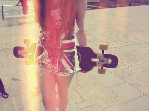 cute, girl, longboard