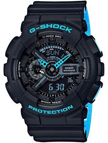 Men's Casio G-Shock Anti-Magnetic Black and Neon Blue Resin Watch GA110LN-1A