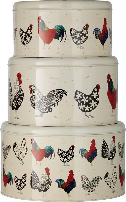 Set Of 3 Chicken Cake Tins Shabby Chic And Vintage Style