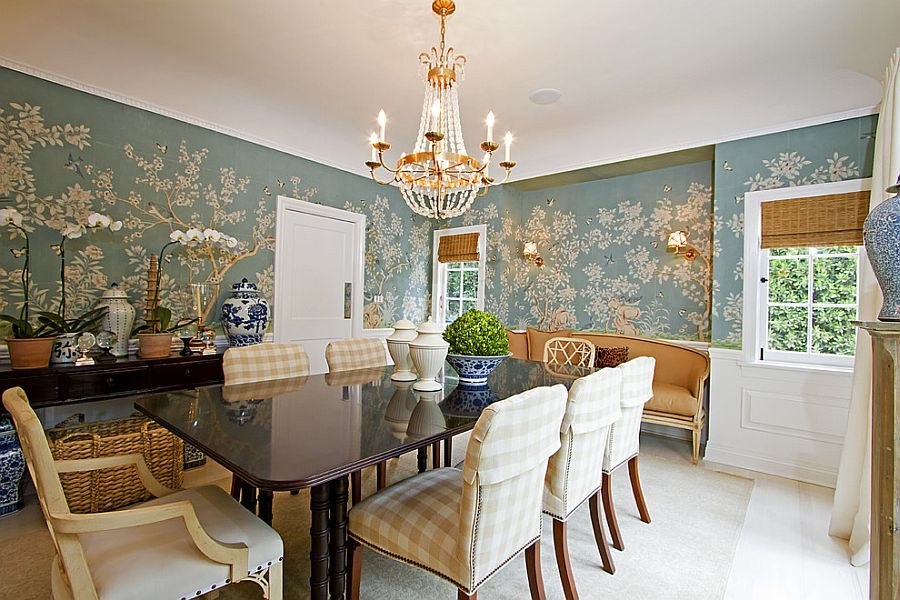 spelndid popular wallpaper designs. Covering half the wall with wallpaper is a popular choice in dining  room Design 27 Splendid Wallpaper Decorating Ideas for Dining Room