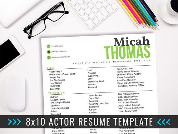 actor resume template    8 x 10 acting resume    instant