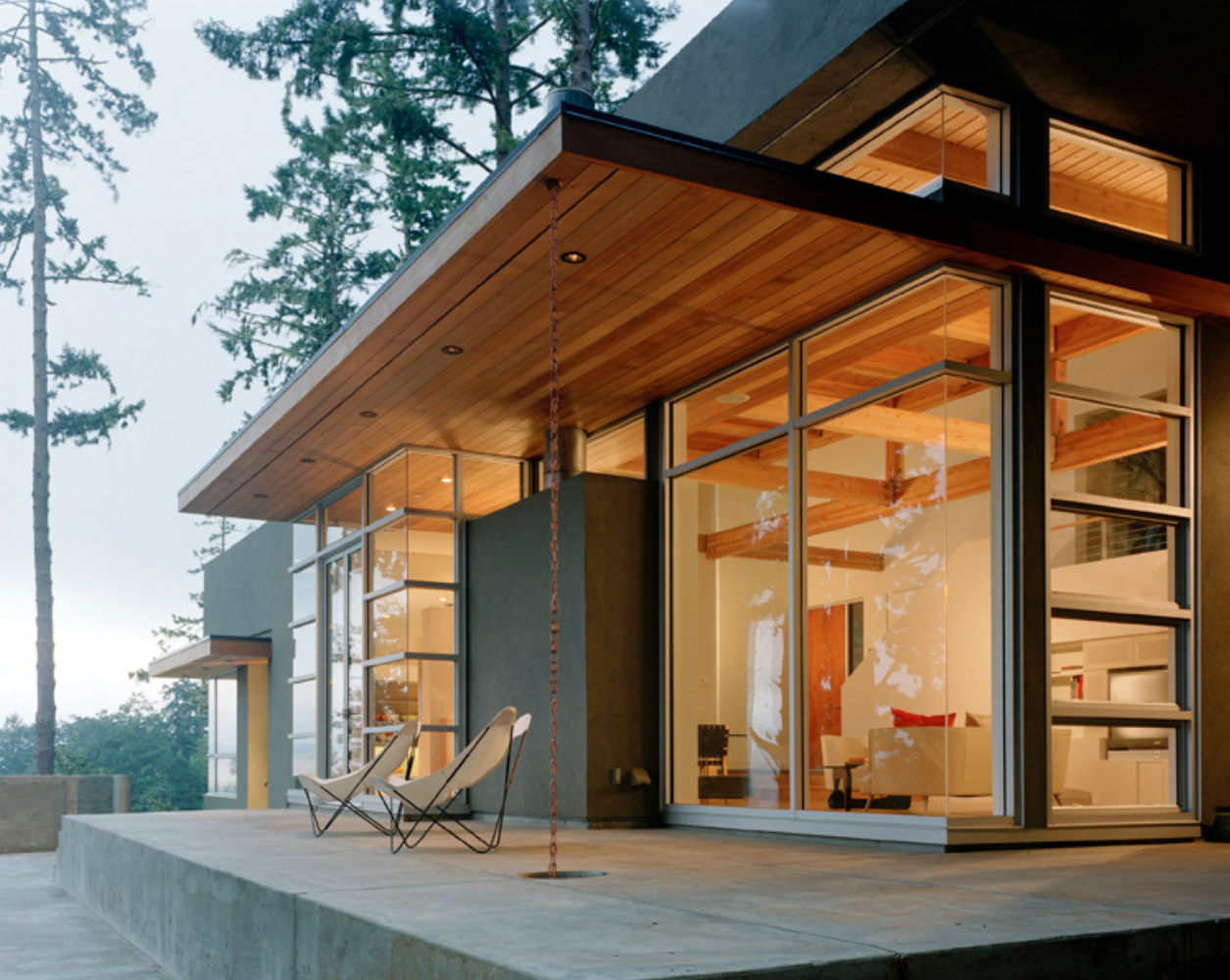 Love This Overhang Is Exactly What I M Talking About No Stone Facade Though Even If Just On The Edge Modern Patio Architecture Exterior Design