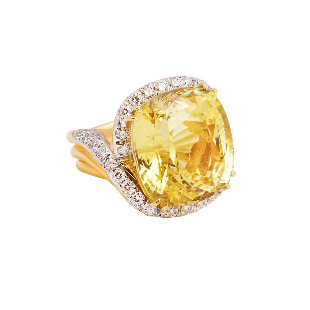 35.25 Carat GIA Yellow Sapphire Diamond Gold Ring | From a unique collection of…