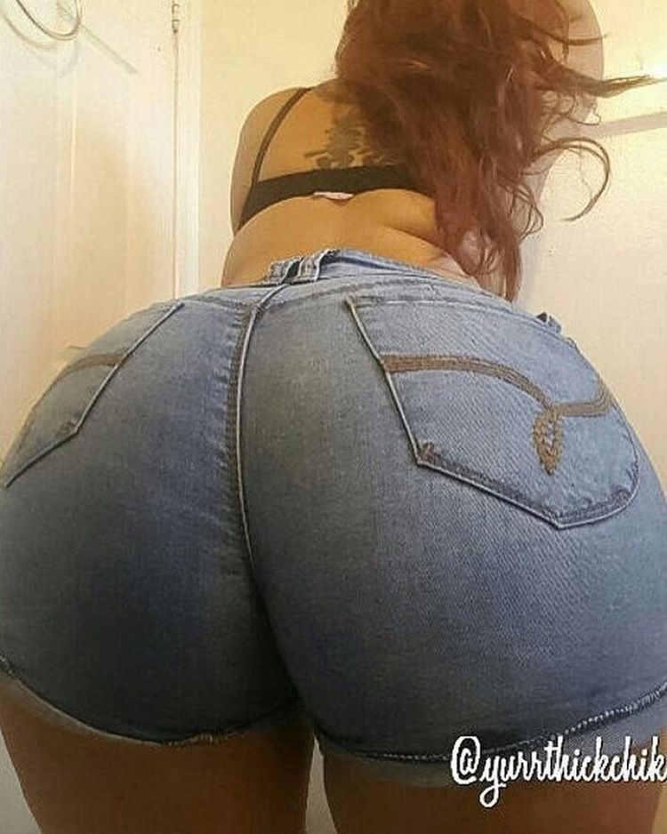 image Denim shorts pawg cheeks