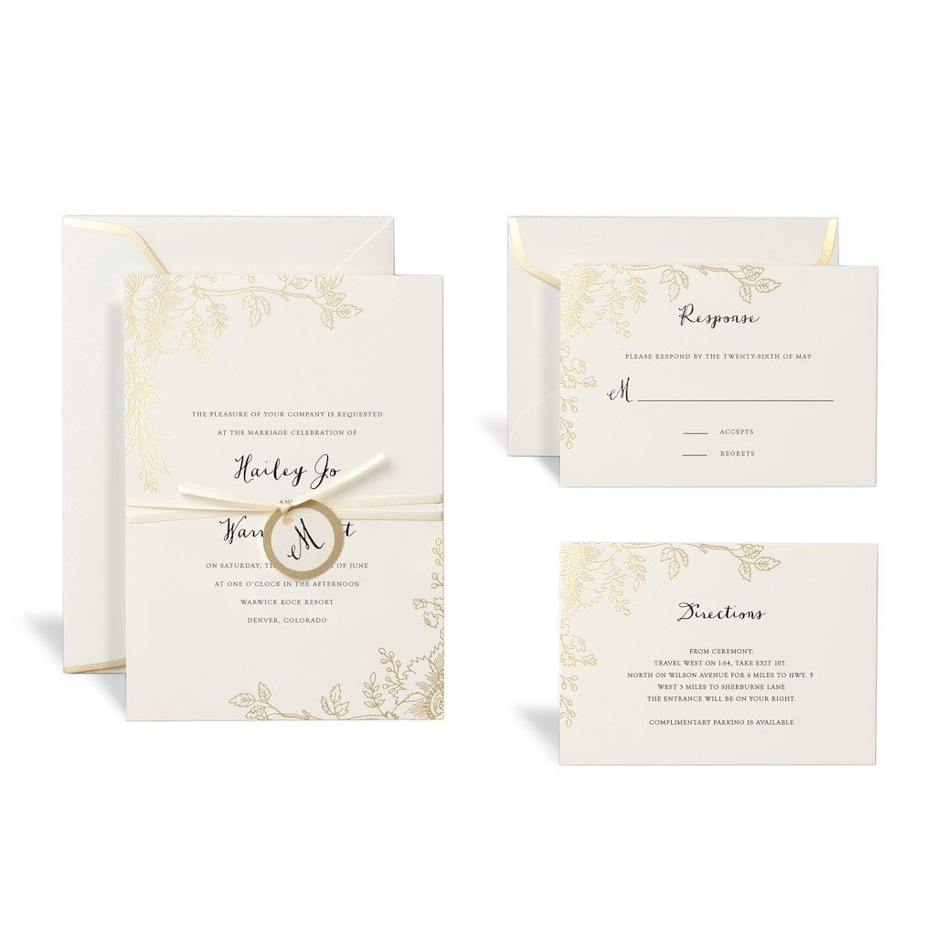 The Wonderful Floral Gold Wedding Invitation Kitcelebrate It For Celebrate It Template In 2020 Gold Wedding Invitations Fun Wedding Invitations Wedding Invitation Kits
