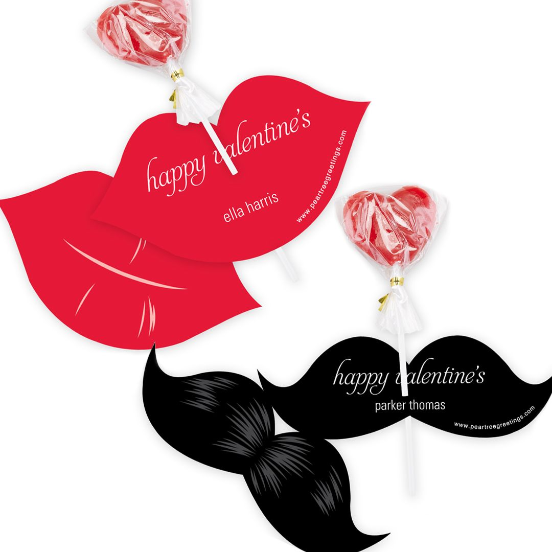 Mustache and lips lollipop holders the sweetest classroom check out our cute selection of classroom kids valentines day cards for your little ones and their friends customize at pear tree greetings kristyandbryce Gallery