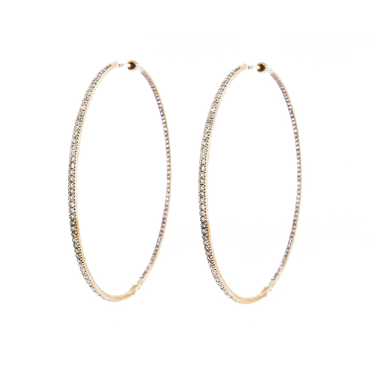 Extra Large Yellow Gold Diamond Hoop Earrings