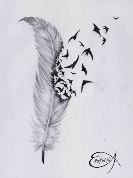 Feather With Birds Flying Out Tattoo 87012 Feather And Bird Drawing Tumblr Feather Tatt Phoenix Feather Tattoos Feather With Birds Tattoo Feather Tattoo Design