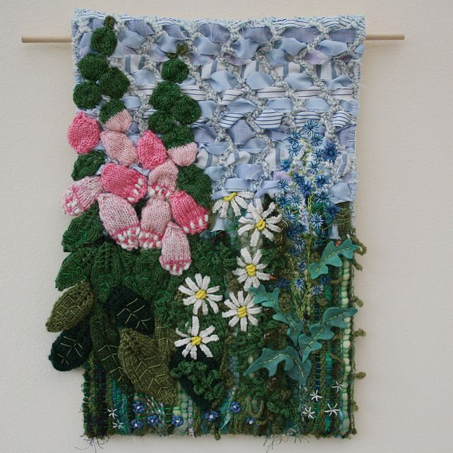 Textile Wall Art foxgloves and daisies - textile wall hanging £72.00 | textile art