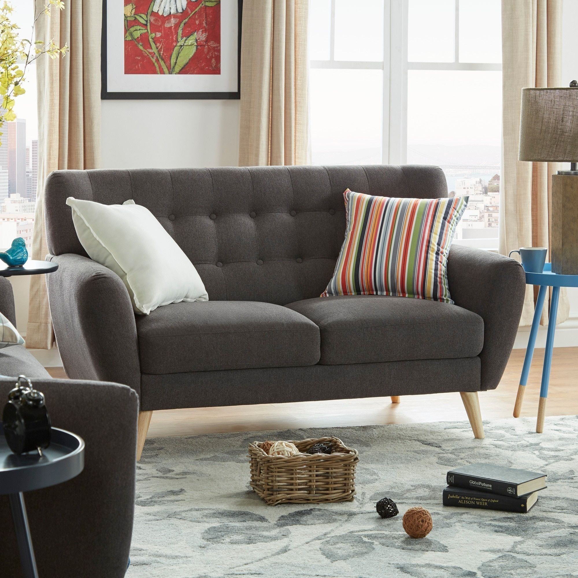 Niels Danish Modern Button Tufted Linen Fabric Loveseat iNSPIRE Q Modern by  iNSPIRE Q
