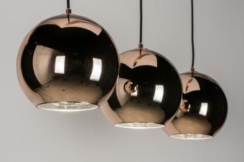 Hanglamp Hoog Plafond : Schitterende hanglamp met roodkoperen bollen de binnenkant van