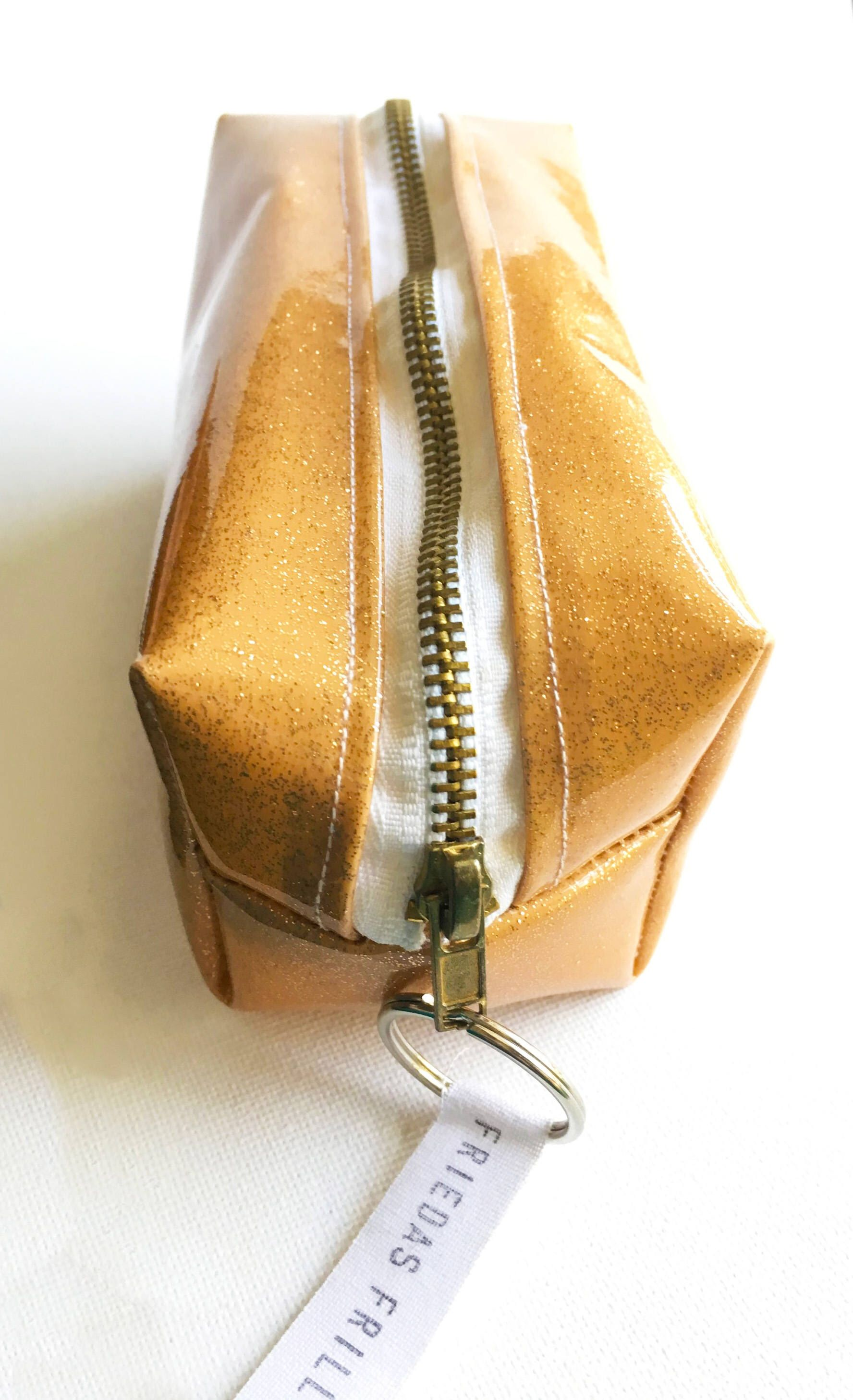 Boxy Glam Gold Glitter Make Up Bag / Pencil Case by