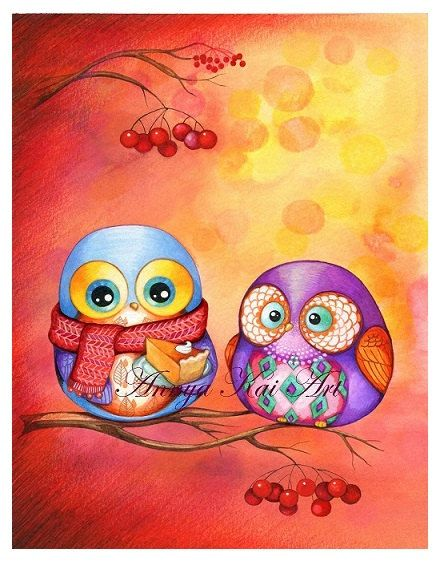 Owl art print owl art owl painting watercolor art - Chouette rigolote ...