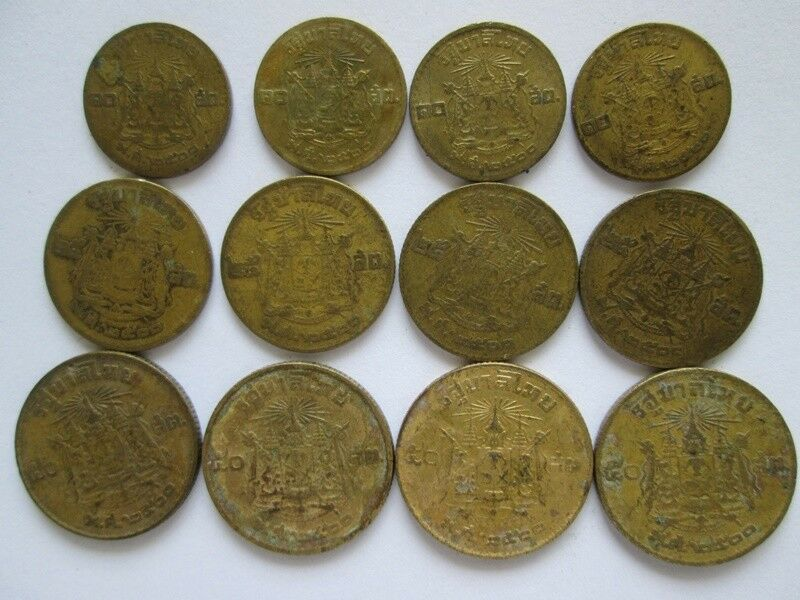 Antique Coins 3 Pcs 10 25 50 Satang B E 2500 Siam King 9 Rama Ix
