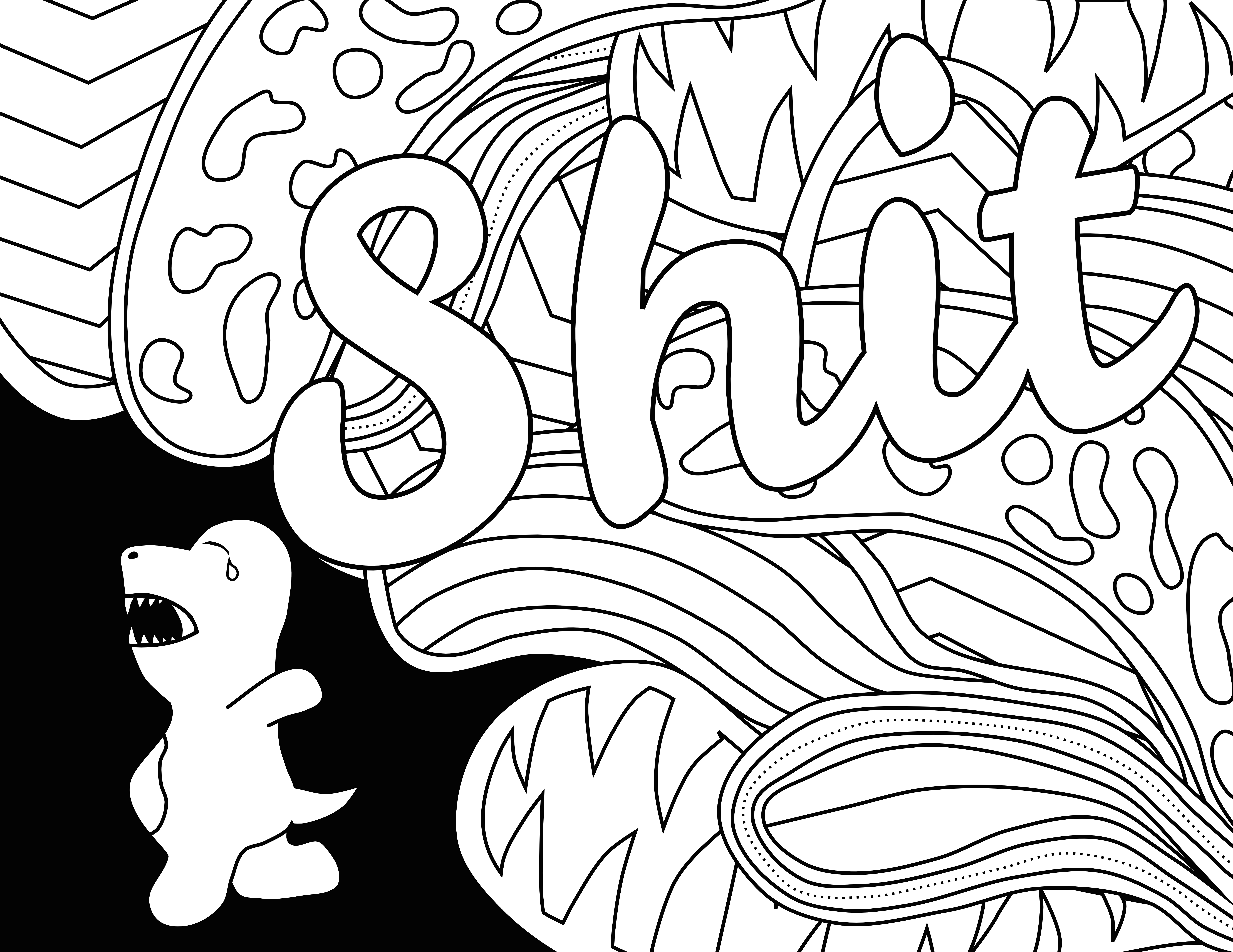 Shit Swear Word Coloring Page Adult