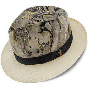 68007a55a Luminosity - Santana Multi-Colored Swirl Shantung Straw Fedora Hat ...