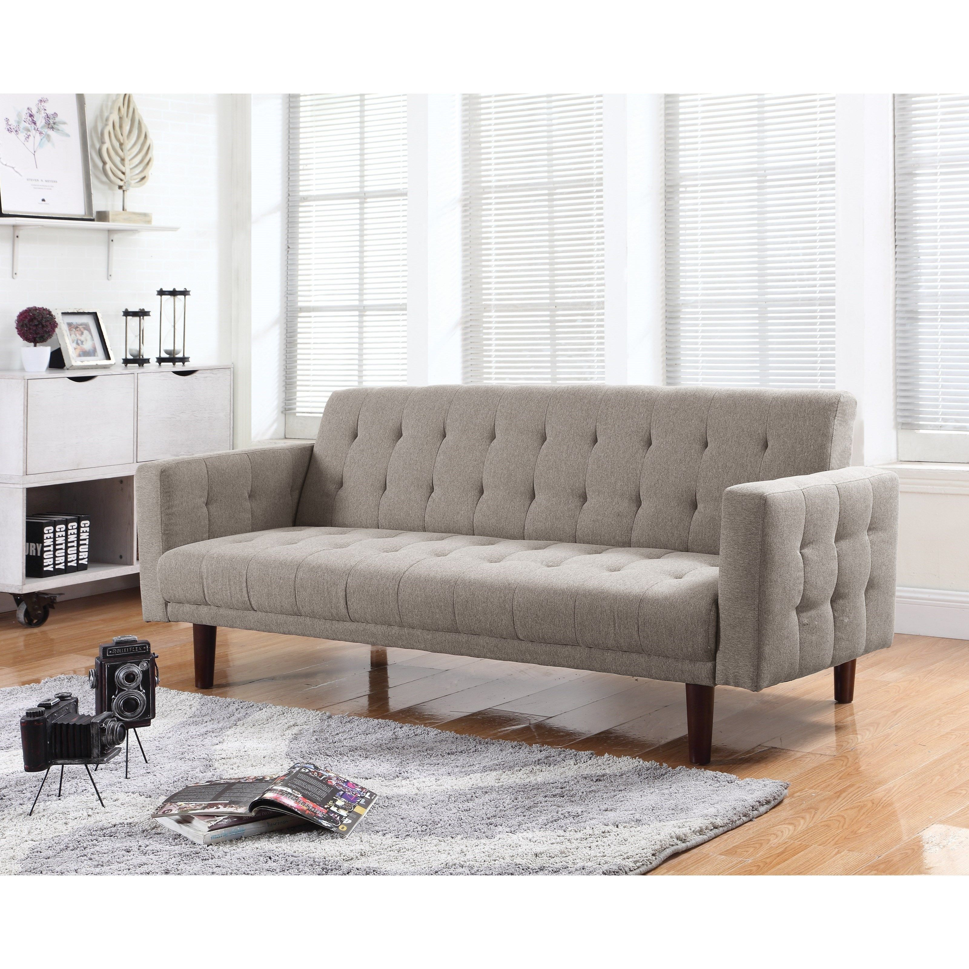 Coaster Futons On Tufted Sofa Bed With Chenille Upholstery Fine Furniture