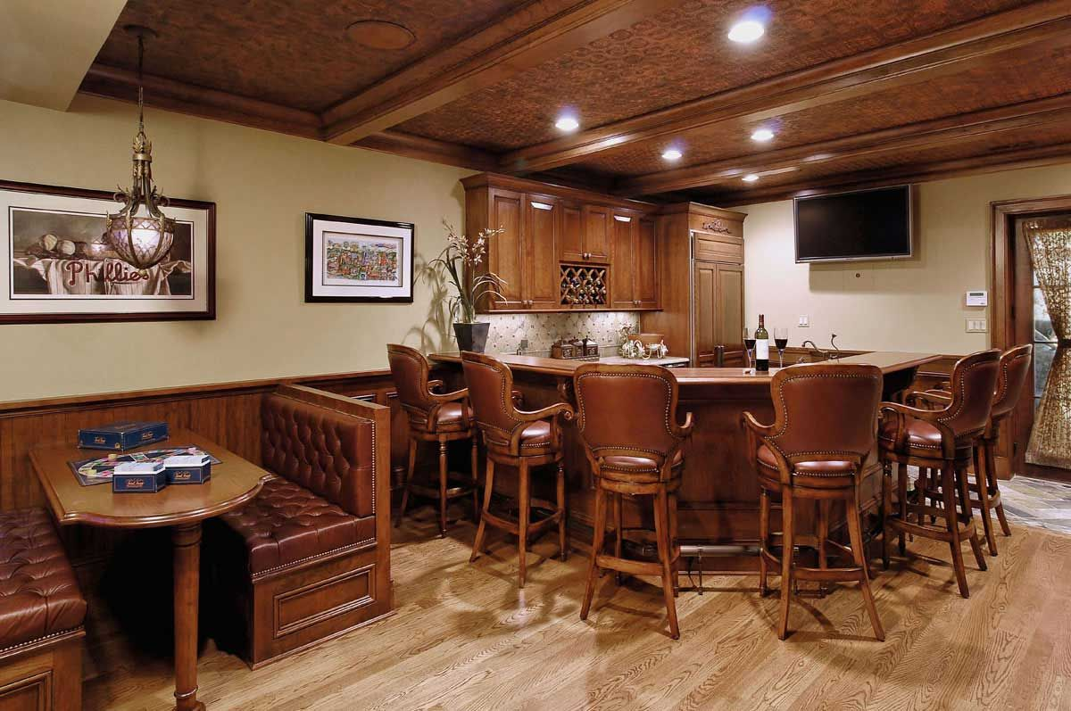Rustic kitchens with eating bar ideas basement bar ideas for Appraisal value of unfinished basement
