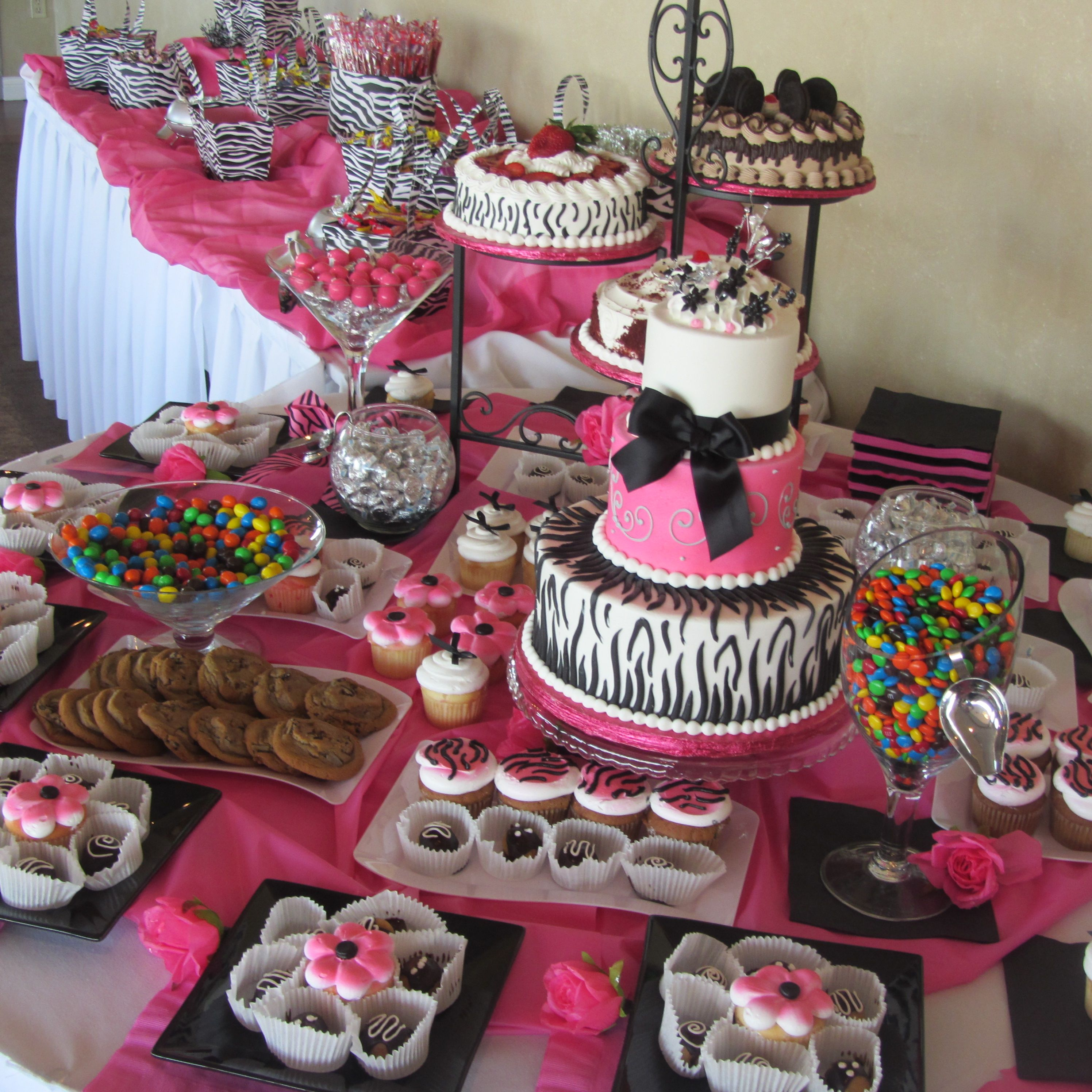 Inexpensive table decorations chocolate party pink Cheap table decoration ideas