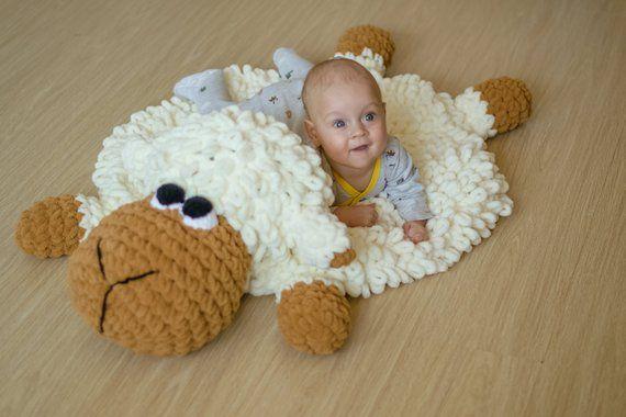 Cuddly sheep baby rug, Toddler play mat, Lamb animal nursery decor, Newborn photo prop, neutral baby shower gift