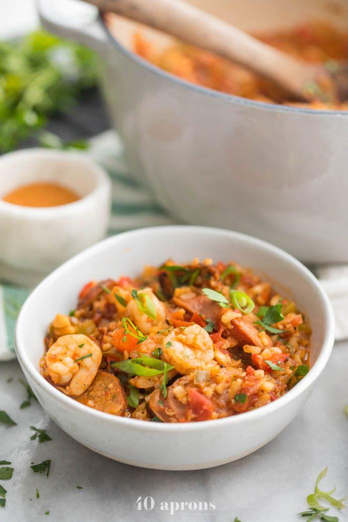 Healthy Jambalaya with Sausage & Shrimp (Whole30, Low Carb, Paleo) #cajundishes