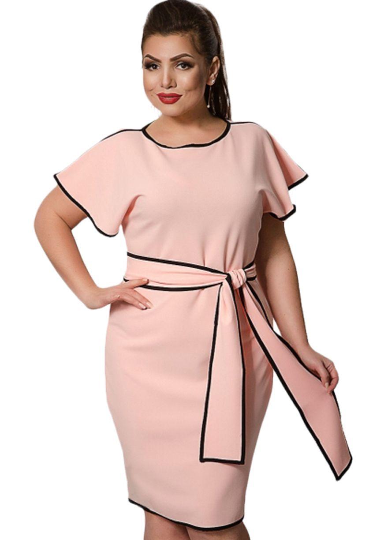 fa3bd513c8 Color Block Big Size Women Belted Bodycon Dress_Plus size Dress_Plus ...